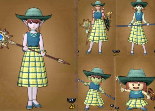 仮装メイク道具種族ドレア見え方比較聖賢者のローブチェックのスカート