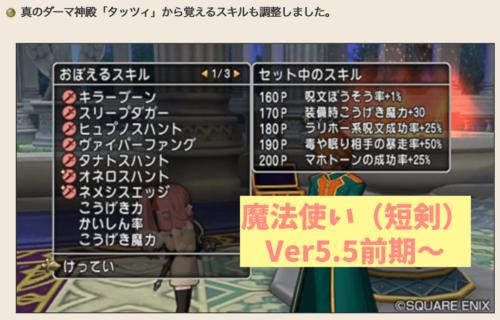 Ver5.5前期魔法使い新スキルライン短剣ヴェレ系呪文